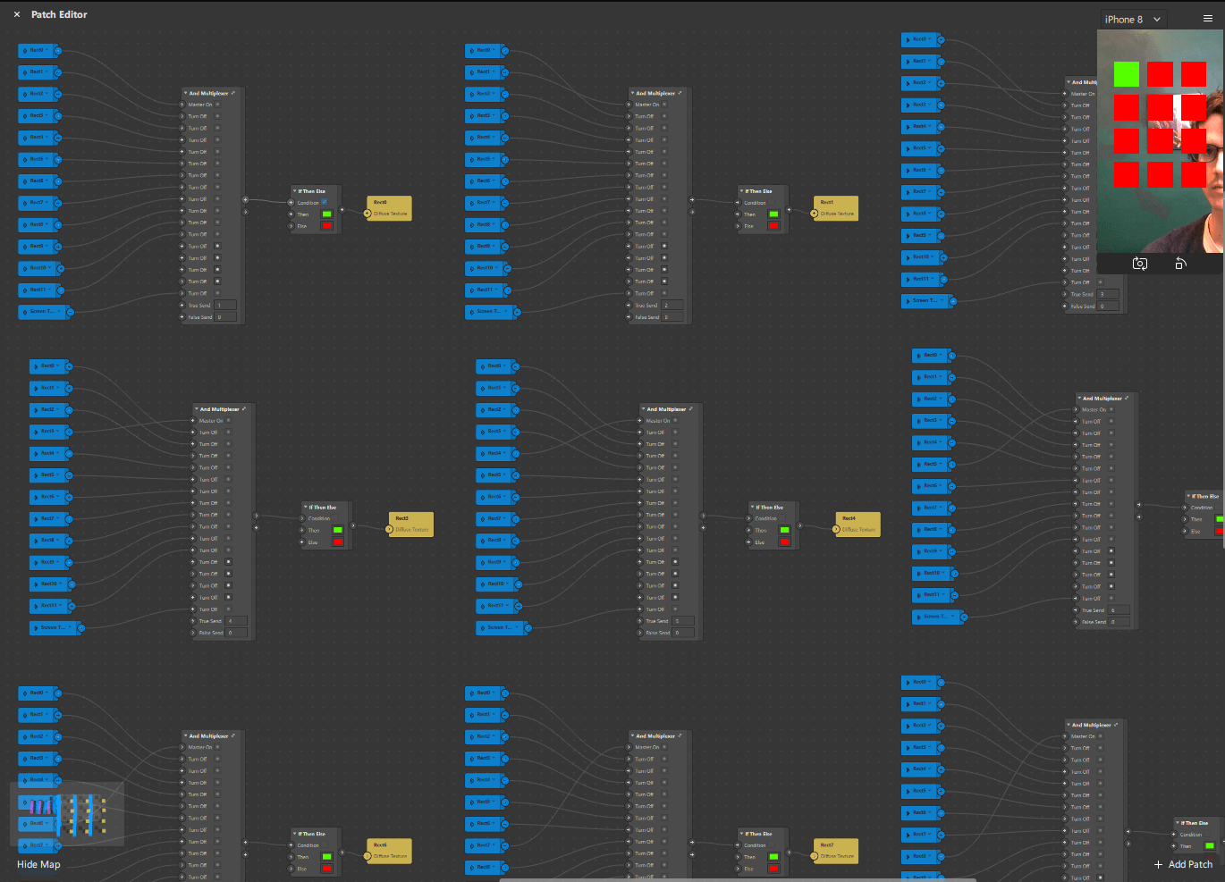 Patch Editor diagram of And Multiplexer use case